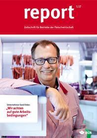 Der Titel der Zeitschrift Report 1/2017 für Fleischwirtschaft