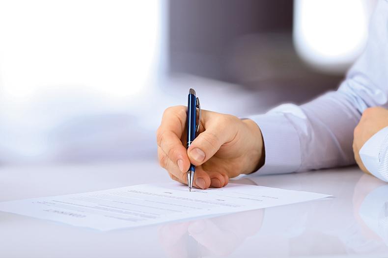 Unterzeichnung eines Vertrages