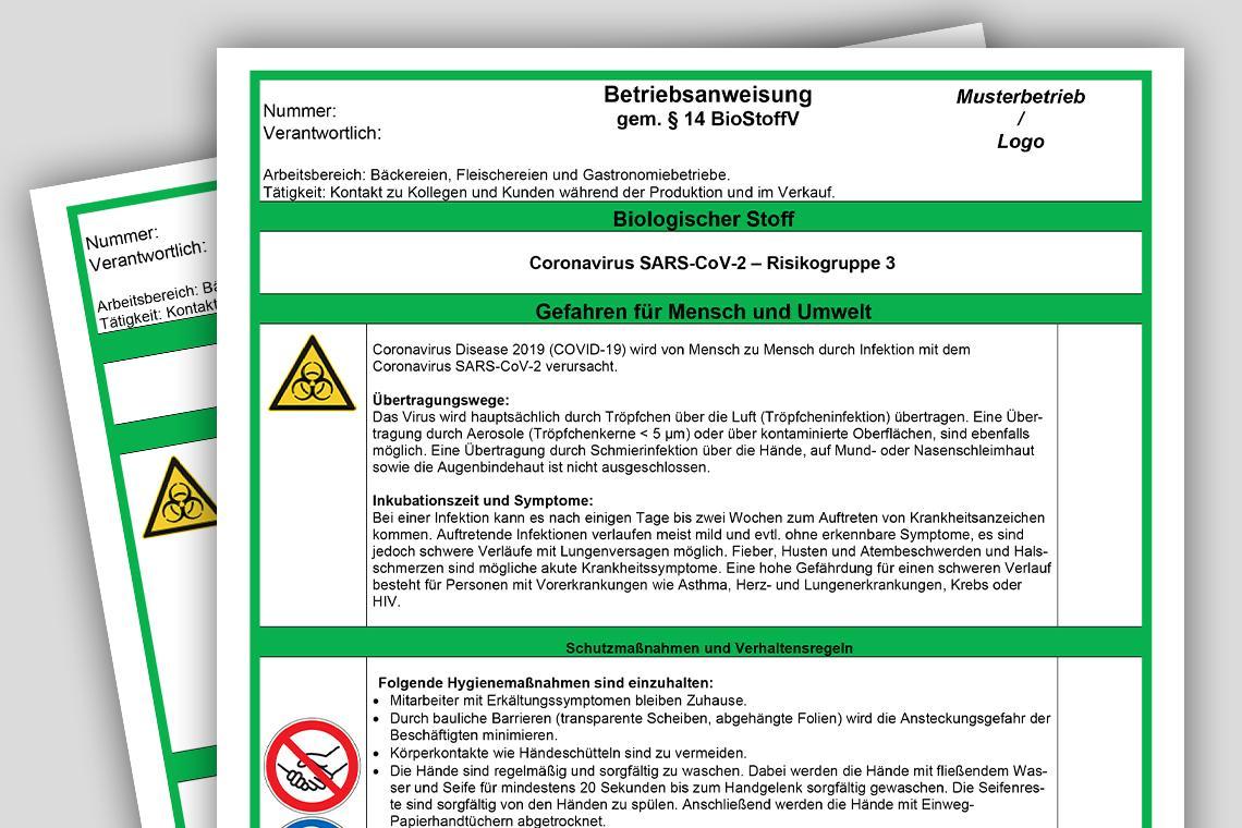 Betriebsanweisung Coronavirus SARS-CoV-2