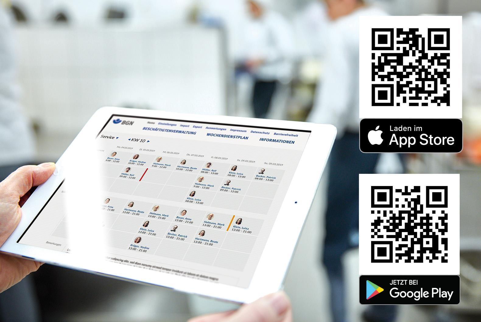 BGN-Dienstplan-App geöffnet auf einem Tablet