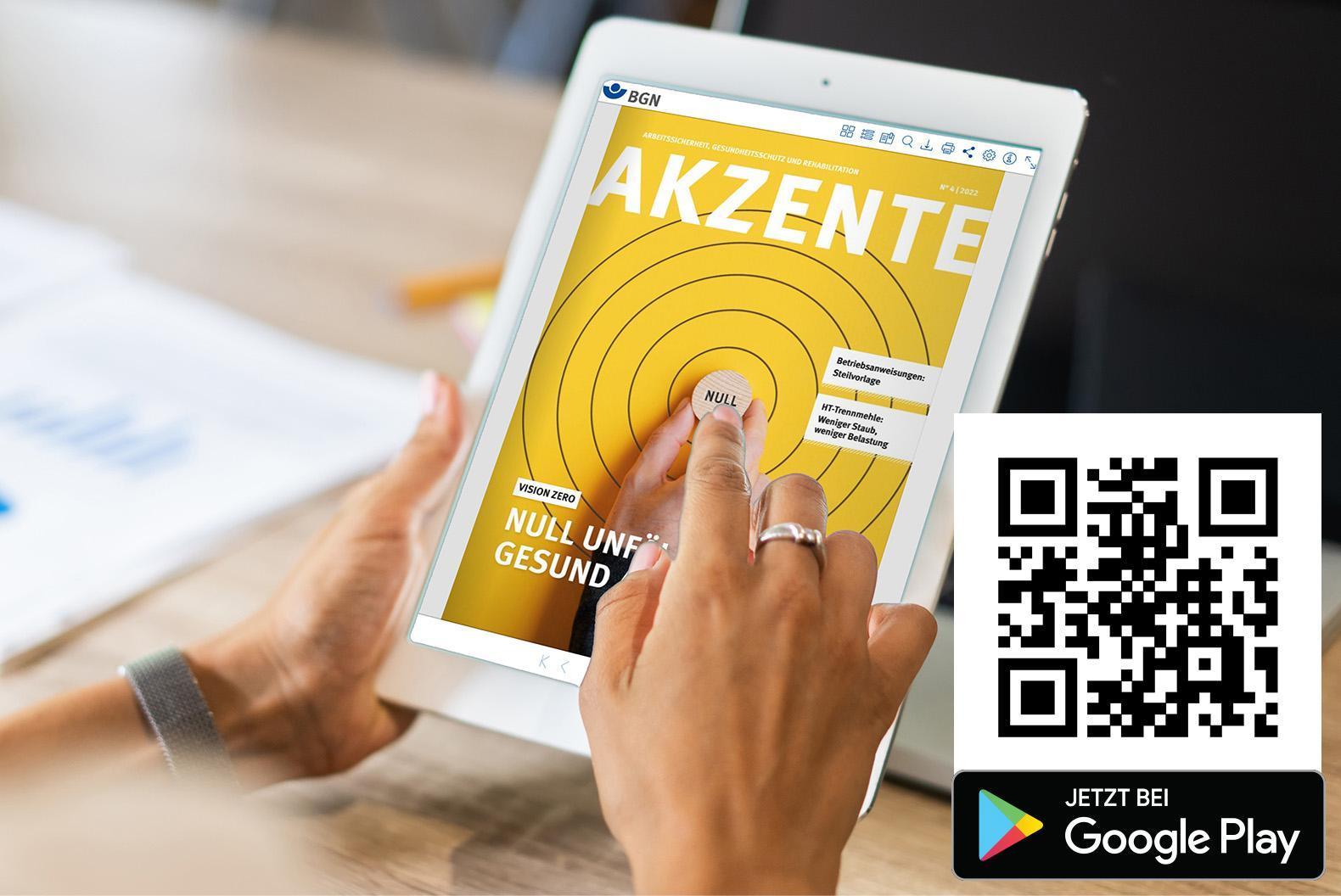 Frau schaut auf Tablet, das die Akzente anzeigt, daneben ein QR-Code zur BGN-Medien-App.