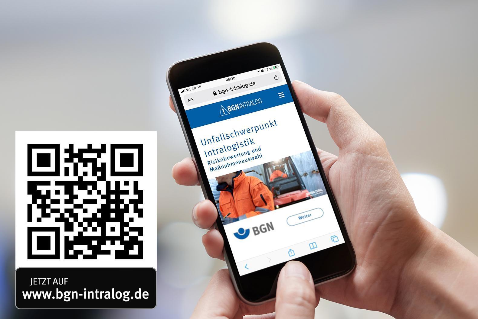 Hände halten ein Smartphone, das die BGN Intralog App anzeigt.